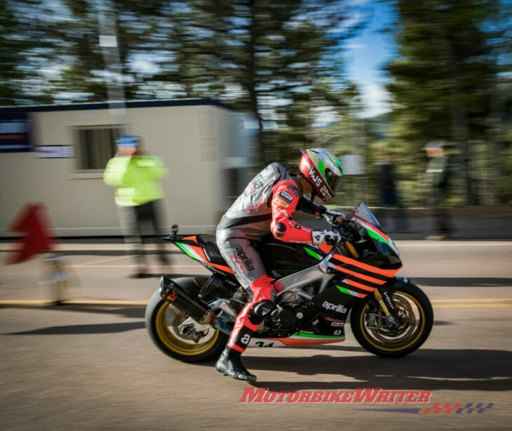 Carlin Dunne rides Ducati V4 Streetfighter prototype at Pikes peak