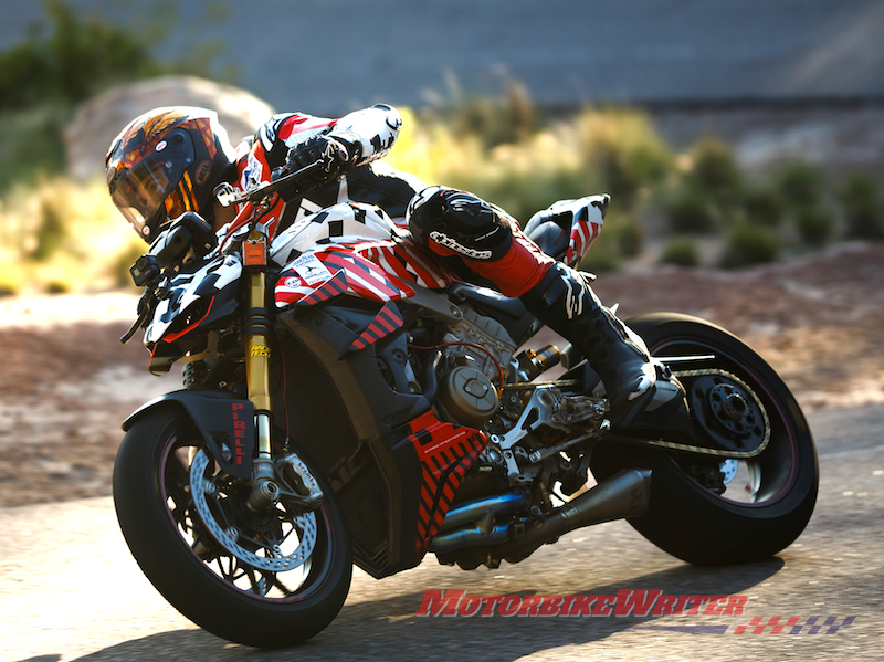 Carlin Dunne rides Ducati V4 Streetfighter prototype at Pikes peak Multistrada V4