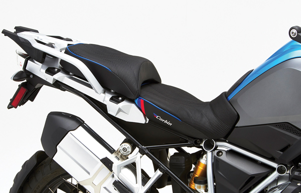 Corbin front and rear saddles on a BMW R 1250 GS.