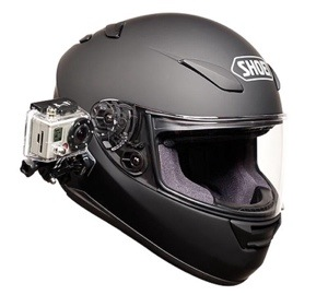 Shoei helmet with a GoPro action camera mounted