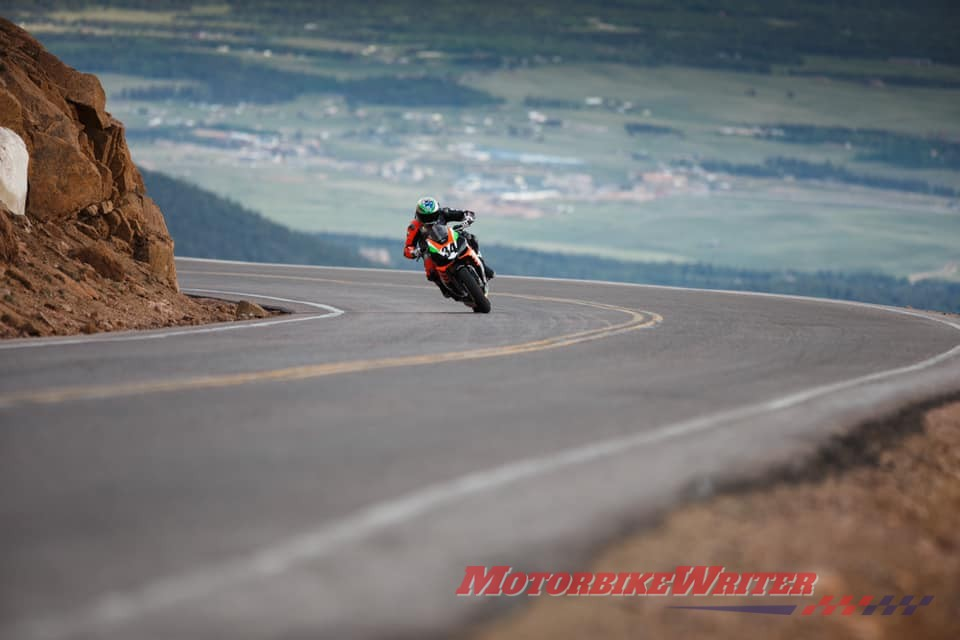 Australian motorcycle journalist Rennie Scaysbrook has posted a video of his record run at the recent Pikes Peak International Hillclimb in Colorado.