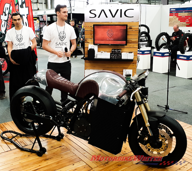 Dennis Savic with electric Cafe racer motrcycle electric highways
