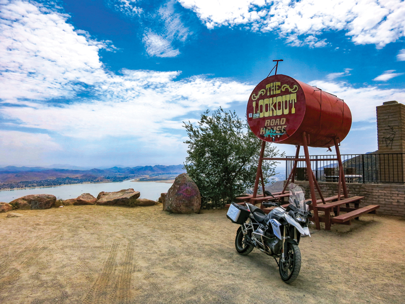 The Lookout high above Lake Elsinore is a popular hangout for motorcyclists.
