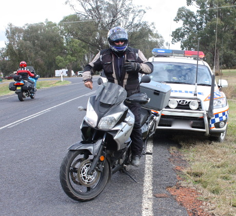 Rider pulled over by police licence checks
