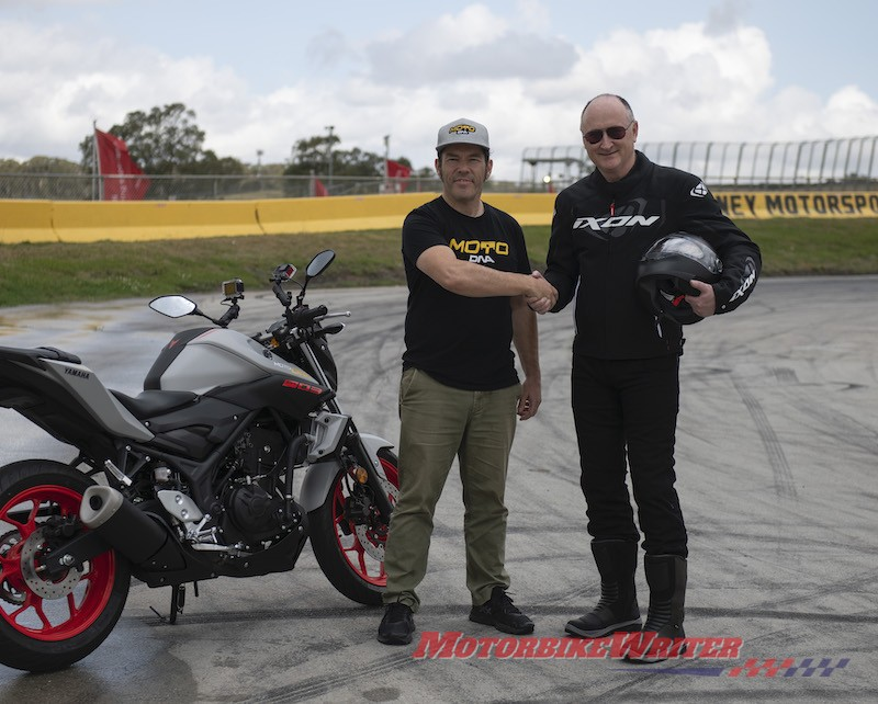 Tony Weber prepares to learn to ride