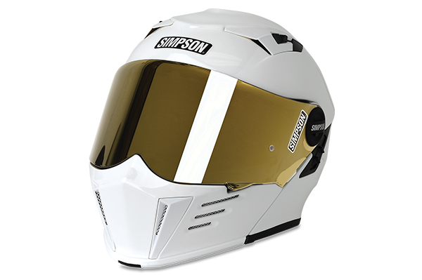 Simpson Mod Bandit Modular Helmet in white with gold mirrored shield