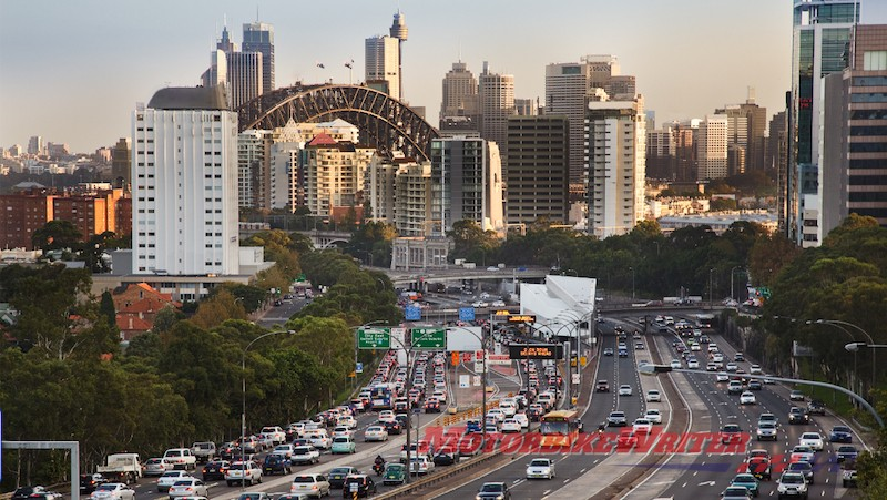 Sydney traffic congestion motorcycles lane filtering planning forgotten work week