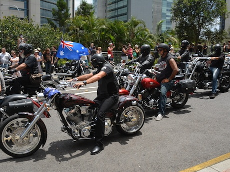 Riders protest the laws at the January 26 rally in Roma St