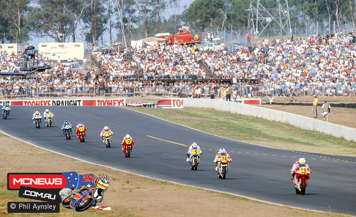 The first lap of the 500cc race at the Australian GP 1991.