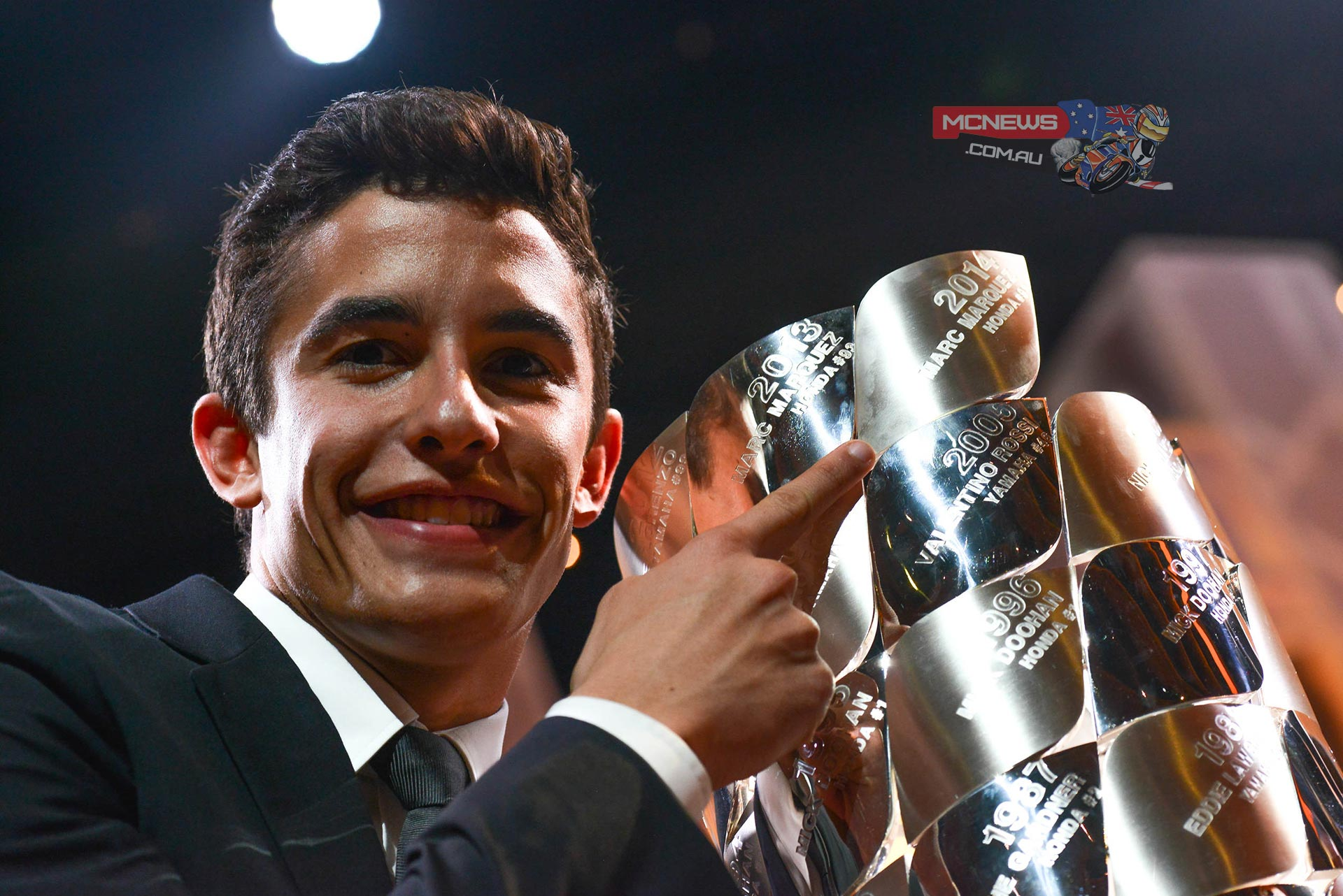 Following Sunday's Gran Premio Generali de la Comunitat Valenciana the 2014 MotoGP™ season was brought to an end at the FIM Awards Ceremony, where among other prize winners, Marc Marquez was presented with the MotoGP World Champion trophy which he retained in style this year.