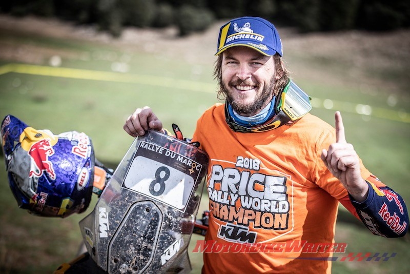 gq Toby Price FIM Cross Country Champion Australia's first Dakar Rallywinner and newly crowned Cross Country Rallies World Champion Toby Price is urgingriders to get their bikes out of the garage for Ride to Work Week. honour