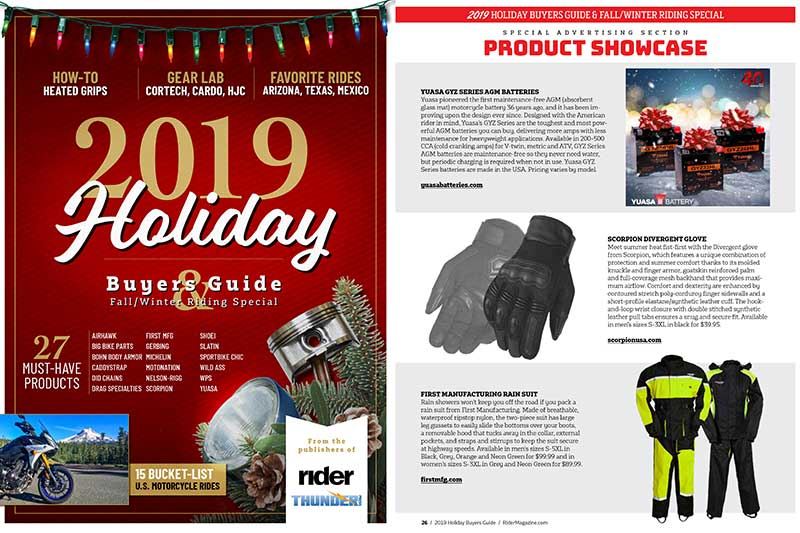 2019 Rider Thunder Press Holiday Buyers Guide
