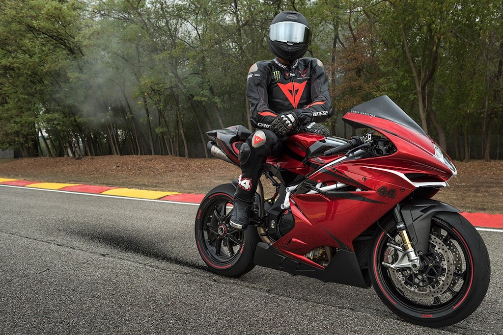 Lewis Hamilton with the MV Agusta F4 LH44 super rich