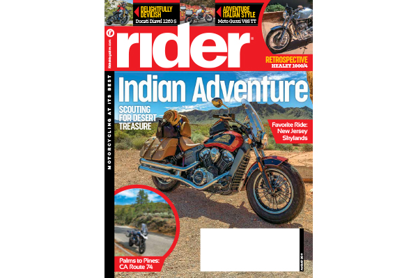 August 2019 cover of Rider magazine.