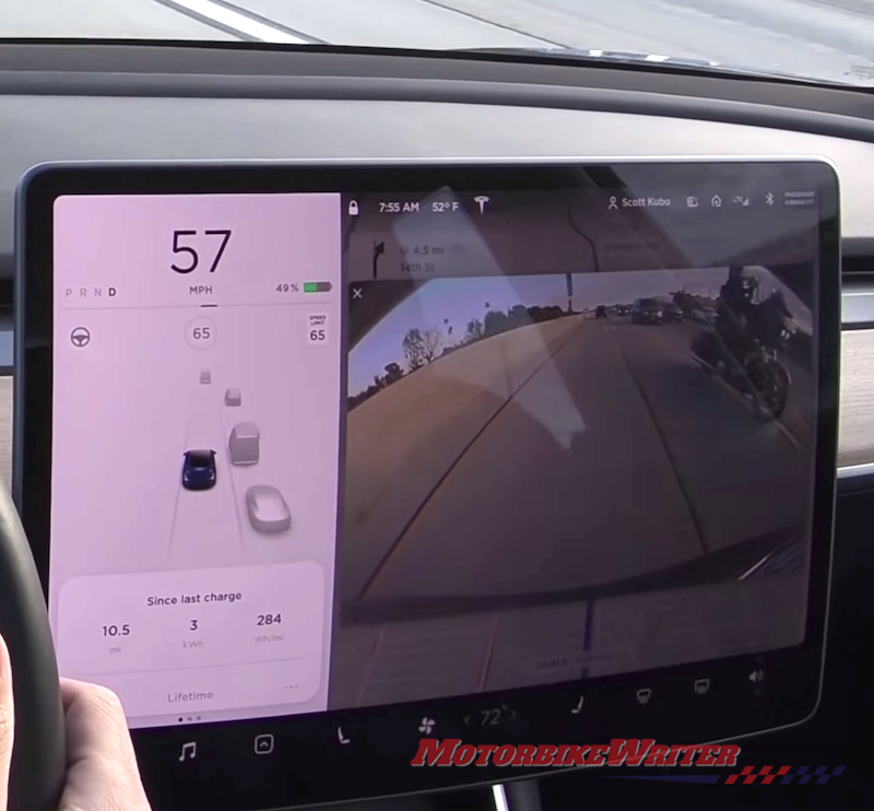 Tesla detects lane filtering riders