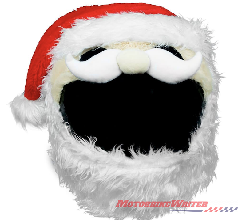 Novelty santa xmas motorcycle helmet cover