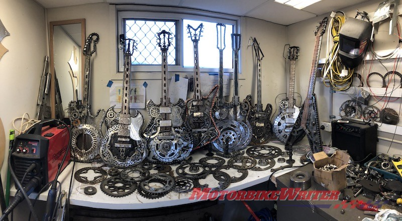 Adam Tovell-Soundy who makes guitar art pieces out of old motorcycle spares