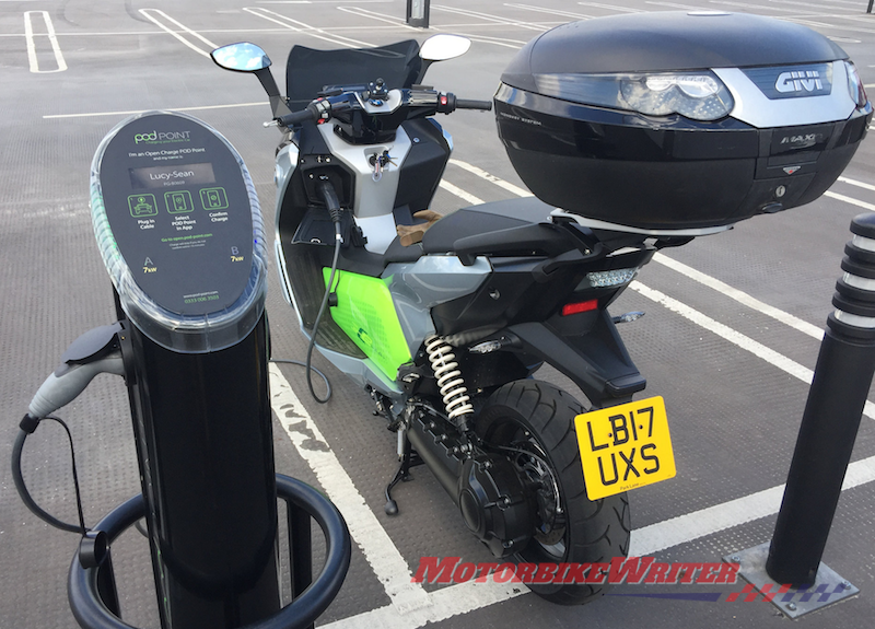 Oliver van Bilsen living with an electric BMW C evolution scooter electric motorbike historic