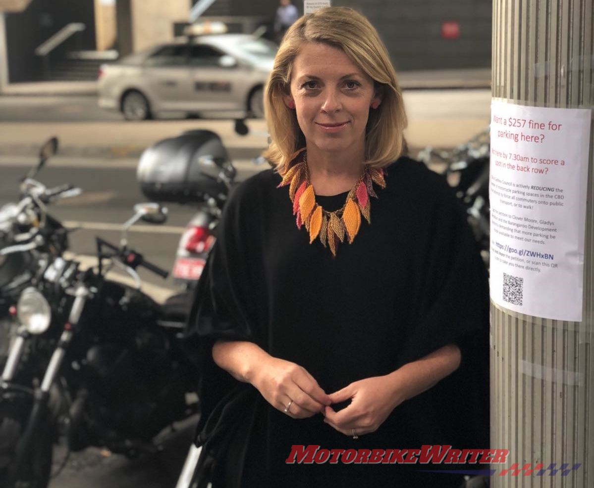 Sydney motorcycle parking petition Emma MacIver