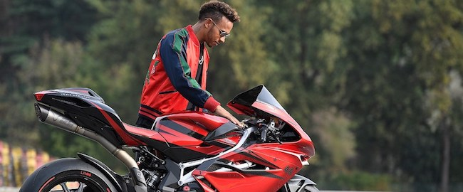 Lewis Hamilton with the MV Agusta F4 LH44