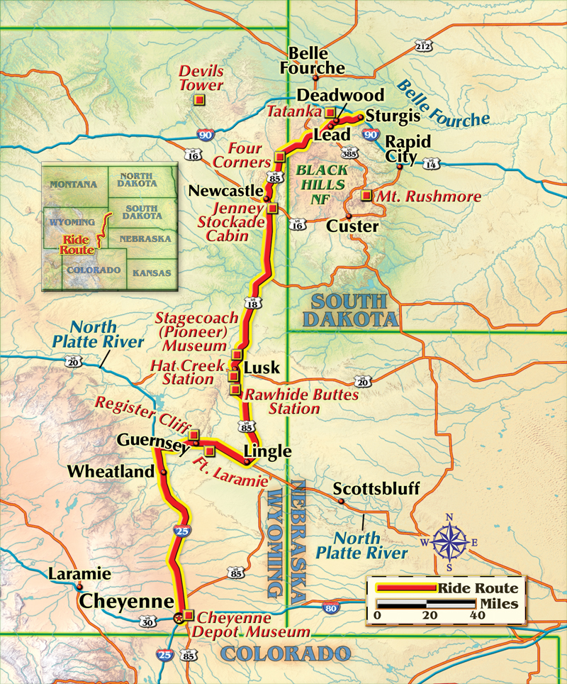 Cheyenne to Deadwood motorcycle ride map
