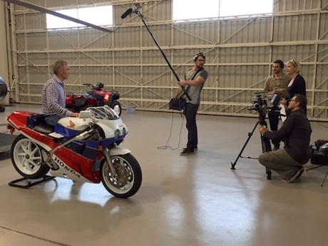 Mick Doohan films the teaser with STAGE Films TV Bike Torque TV