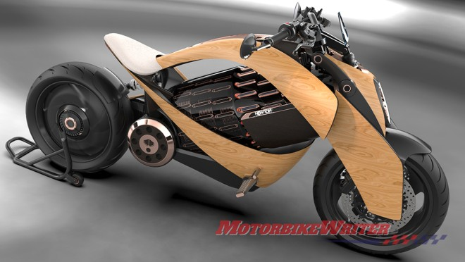 Newron Motors electric wooden motorcycle