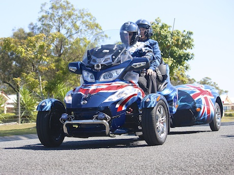 John and Rose England's patriotic Can-Am Spyder and trailer