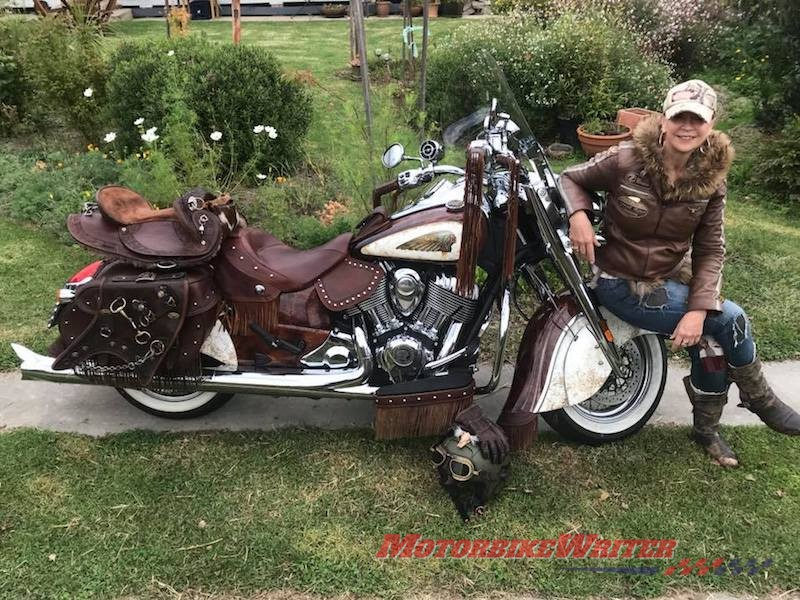 Chris Keeble and her Indian Chief Vintage Calamity Jane