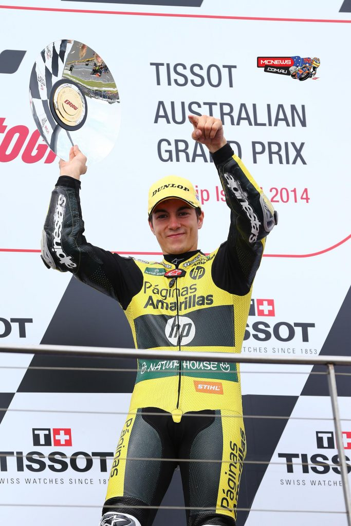 Maverick Vinales won the Moto2 race at Phillip Island in 2014 - Image by AJRN