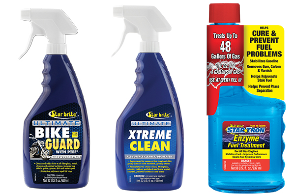 Star Brite Ultimate Bike Guard, Xtreme Clean and Enzyme Fuel Treatment.
