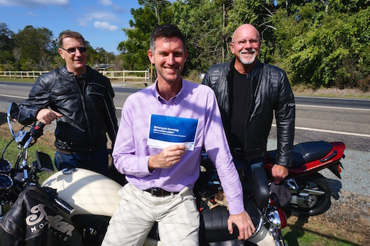 RACQ spokesman Steve Spalding, Road Safety Minister Mark Bailey and MRAQ president Chris Mearns - learner riders
