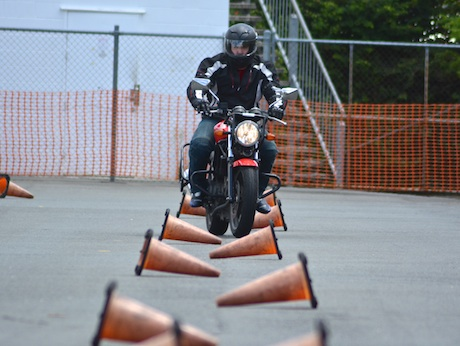 Learner rider Mitch Hamrey tackles the HART slalom course austroads competent rewards practise counter steering confidence
