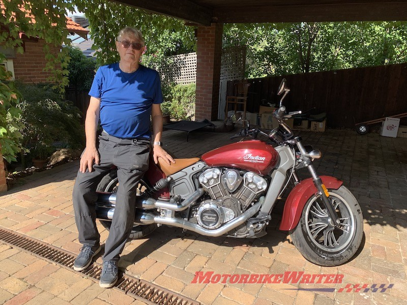 Prof Marcus Wigan parking Indian Scout