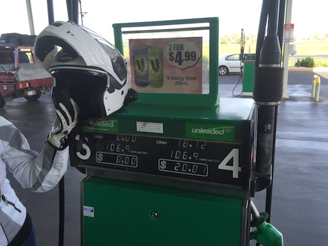 Nowhere to place your helmet on the top of the bowser at a service station