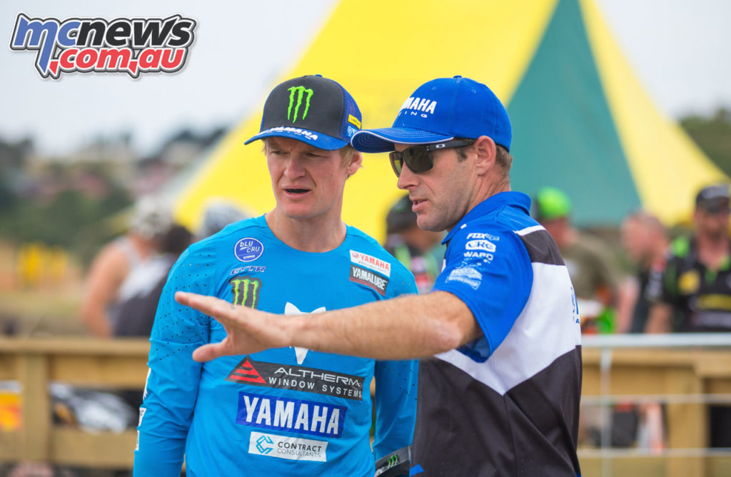 Altherm JCR Yamahas Kirk Gibbs with Team Manager Josh Coppins Balclutha track