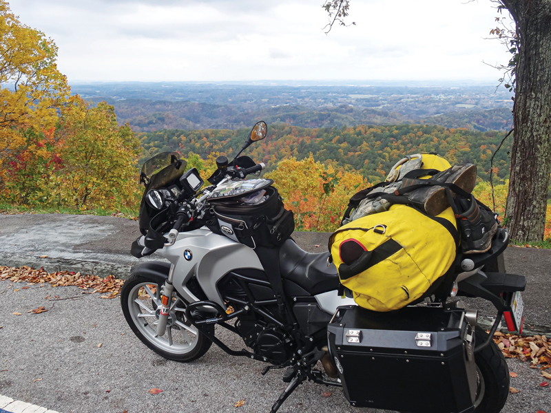 The author's BMW F 650 GS parked at Foothills Parkway Overlook between Townsend and Chilhowee, Tennessee.