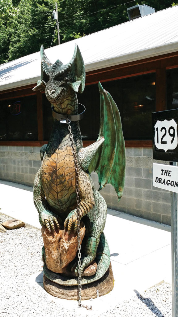 A dragon stands guard at Deals Gap Motorcycle Resort.