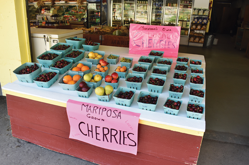 cherries on display at the Mariposa Fruit Stand