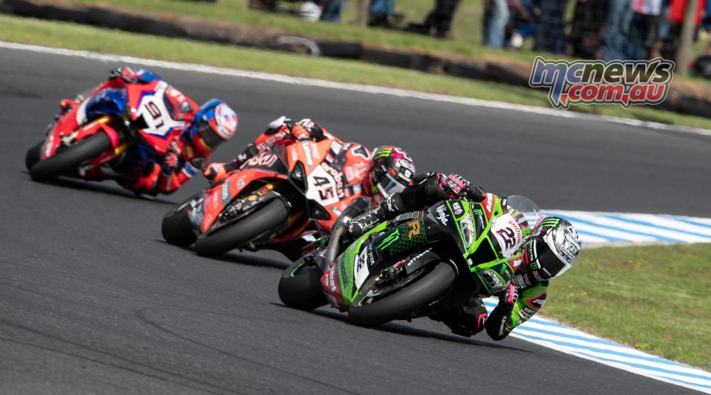 Alex Lowes leads from Scott Redding and Leon Haslam