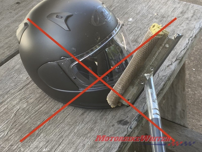 cleaning bugs off helmet visor and bike