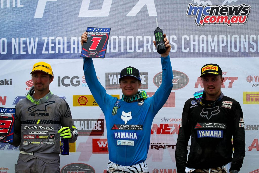 Altherm JCR Yamahas Kirk Gibbs centre and Kayne Lamont right finished in the final moto in Rotorua.