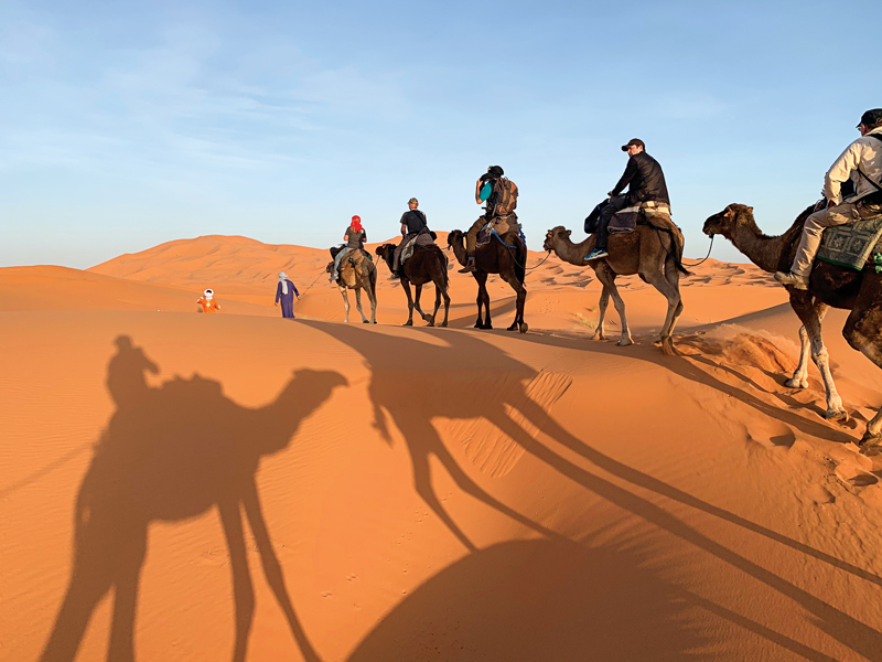 Riding camels through the Erg Chebbi dunes on our way to a Berber camp in the Sahara.