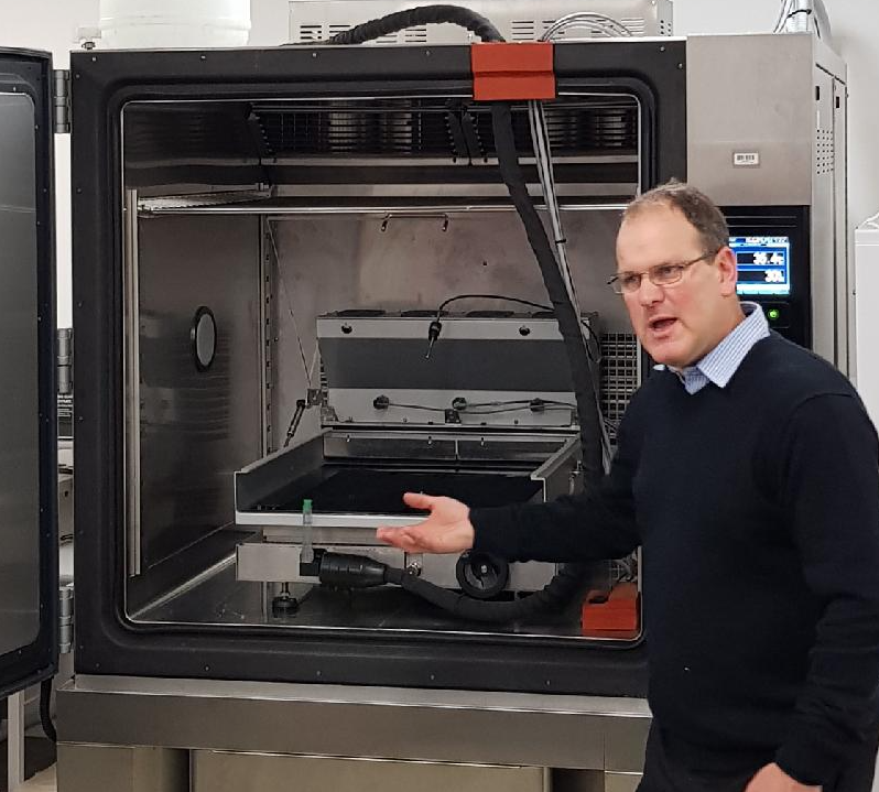 Dr Chris Hurren explains use of one of the uni's testing machines ratings