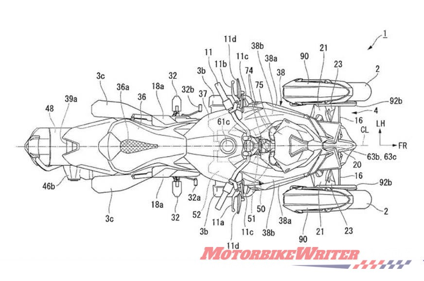Honda Neowing Goldwing leaning three-wheeler trike patent granted aka