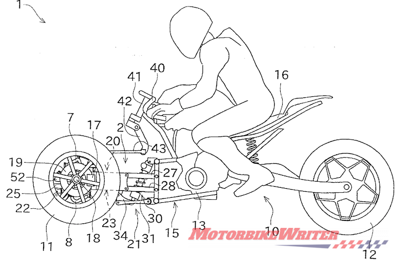Kawasaki leaning three-wheeler patent drawing