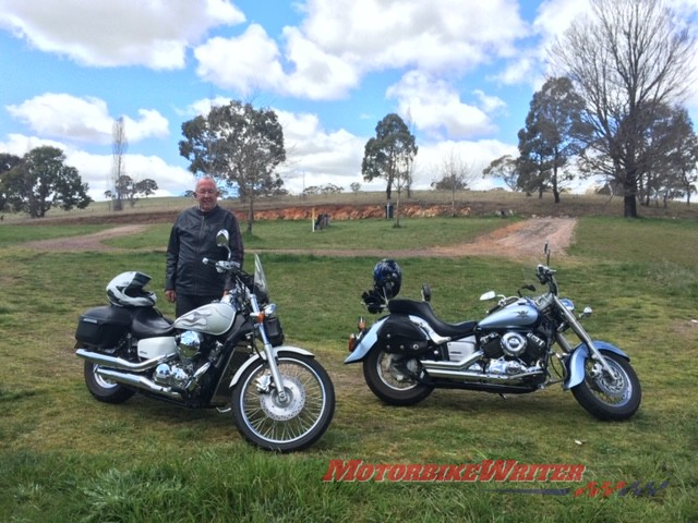 Dad standing with his Honda Shadow and dave's V-Star