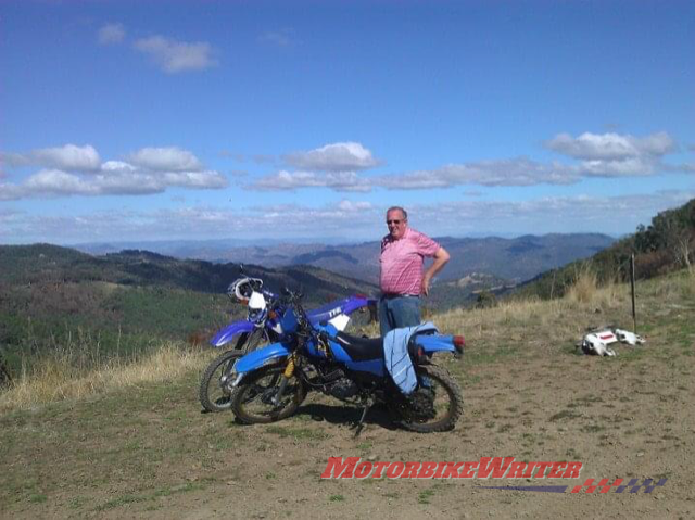 Dad with the TTR and a little DT175 our trail riding