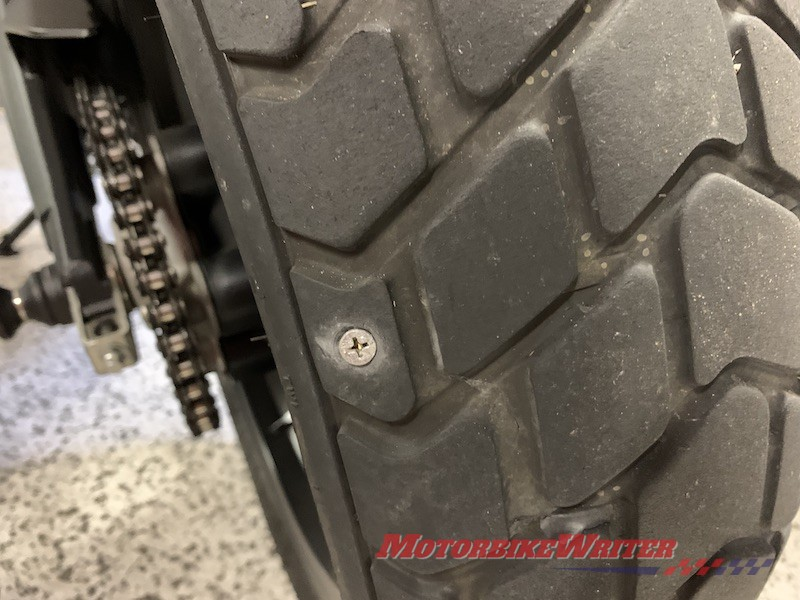 Motorcycle tyre puncture