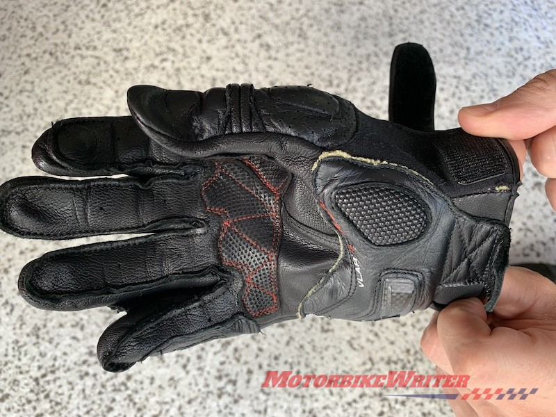 Motorcycle riding gear failures gloves